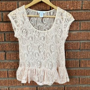 dELiA*s Medium pink Crochet short sleeve blouse